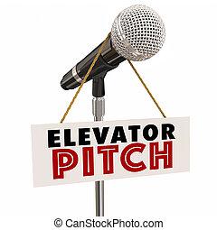 tono, inversionistas, propuesta, clientes, persaude, micrófono, ilustración, elevador, 3d