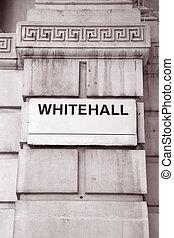tono, whitehall, señal, sepia, calle, negro, londres, blanco