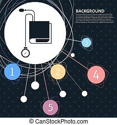 tonometer, icon., presiónsanguínea, ficha, con, el, plano de fondo, a, el, punto, y, infographic, style., vector