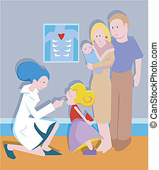 tonsil exam by a doctor on a small child with family.