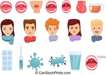 Tonsillitis icons set, cartoon style