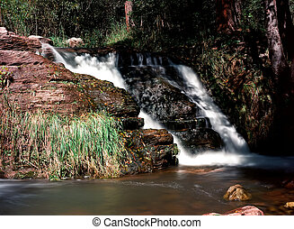 tonto, 入り江, 滝, 中に, 白い 山, アリゾナ