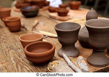 tonwaren, töpfer, tonerde, handcrafts, weinlese, tisch