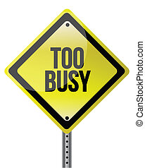 too busy yellow illustration design over white background