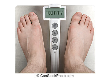 Too FAT? - Concept: Too fat. Scale and legs on white.