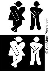 Washrooms sign of those who have held it in almost too long.. Urgency is required..