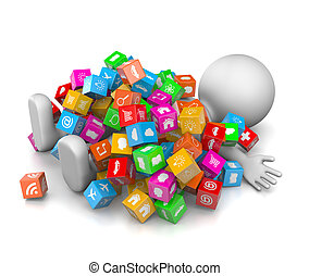 Too Many Apps - White 3D Character Overwhelmed with a Great...