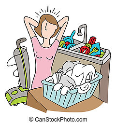 Too Many Chores Woman - An image of a woman with too many...