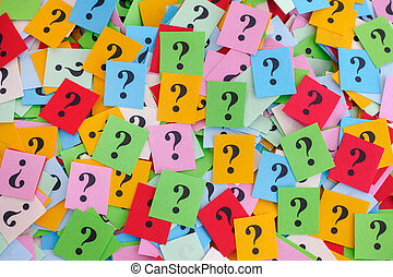Big pile of colorful paper notes with question marks
