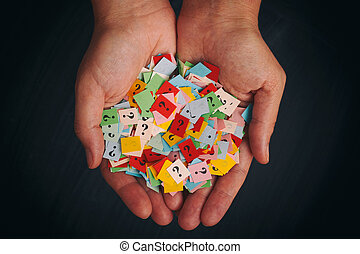 Too Many Questions. Pile of colorful paper notes with...