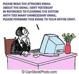 Business cartoon about getting too much email.