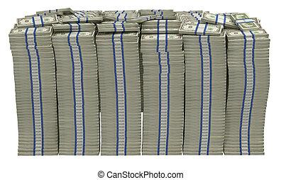 Too Much money. Huge pile of US dollars