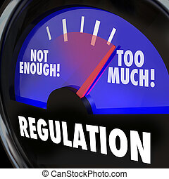 Regulations gauge measuring the amount of regulatory activity in an indsutry, with needle rising from not enough to too much