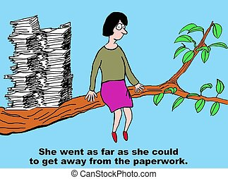 Too Much Paperwork - Business cartoon of businesswoman who ...