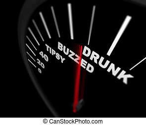 Too Much to Drink - Alcoholism - A speedometer measuring how...
