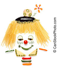 Too shy to be unhealthy. - A portrait of shy clown made of...