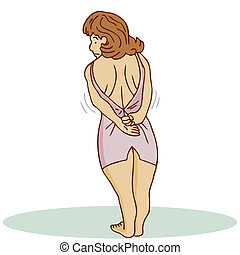 Too Tight Dress Woman - An image of a woman trying to wear a...