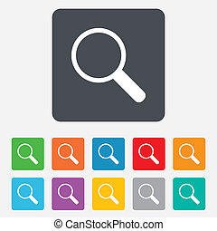 tool., ズームレンズ, 印, ガラス, magnifier, icon., ナビゲーション