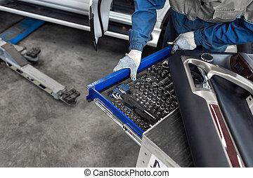 tool., ソケット, サービス, selects, ノズル, 機械工, station., 道具, スパナー