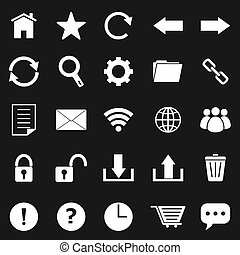 Tool bar icons on black background