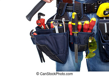 Tool belt. Construction and renovation. - Worker with a tool...