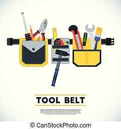 Tool belt poster. Conceptual image of tools for repair,...