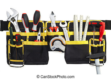 Tool belt with tools isolated on white