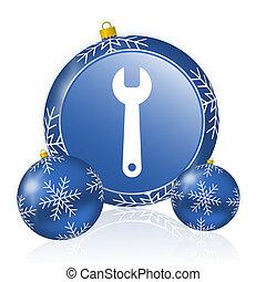 Tool blue christmas balls icon