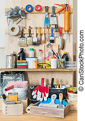 Tool board - Workshop tool board with various hand tools for...