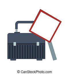 tool box and blank warning sign icon