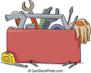 Tool Box Blank Board - Blank Board Illustration of Red Tool...