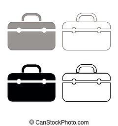 Tool box professional icon outline set grey black color