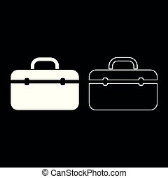 Tool box professional icon set white color illustration flat style simple image