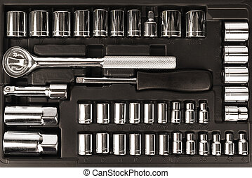 Tool box, set of wrenches and bits. Top view of this tools kit.