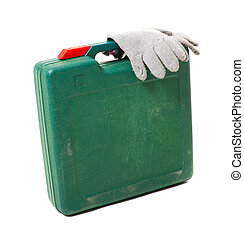 tool box with gloves isolated on white