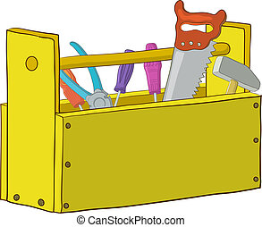 Wooden box with operating tools, Isolated, vector