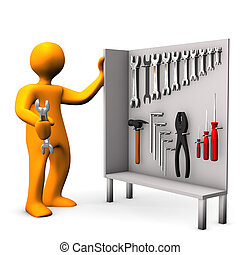 Tool Cabinet - Orange cartoon character with tool cabinet on...