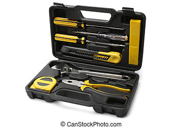 Tool case with tools on white background
