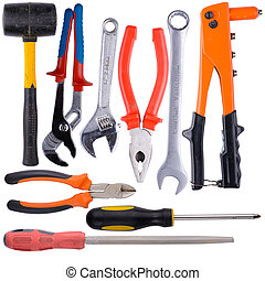 Tool collage on white background with the image of construction