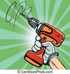 Tool electric drill in hand