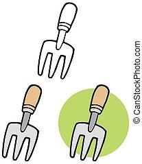 tool., ensemble, jardinage, collection