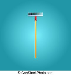 Tool for repair and construction of a rake for cleaning leaves and gardening on a blue background. Vector illustration
