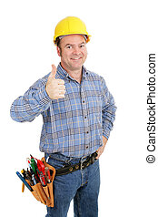 Tool Guy Thumbsup - Handsome construction worker giving...