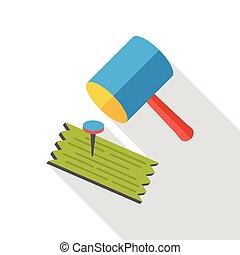 tool hammer flat icon