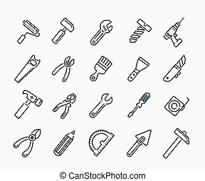 tool icon collection - vector illustration