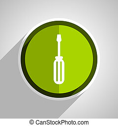 tool icon, green circle flat design internet button, web and mobile app illustration