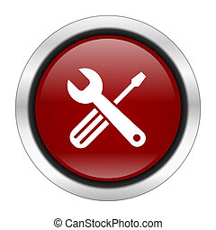 tool icon, red round button isolated on white background, web design illustration