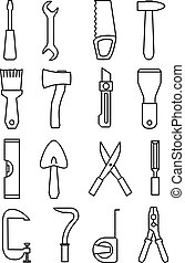 Tool icon set vector illustration isolated