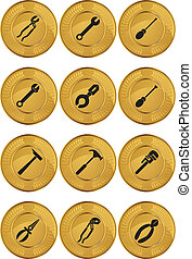 Tool Icons Coin - Set of gold coin icons with hardware tool...