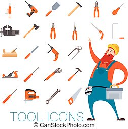 Tool icons set with a worker